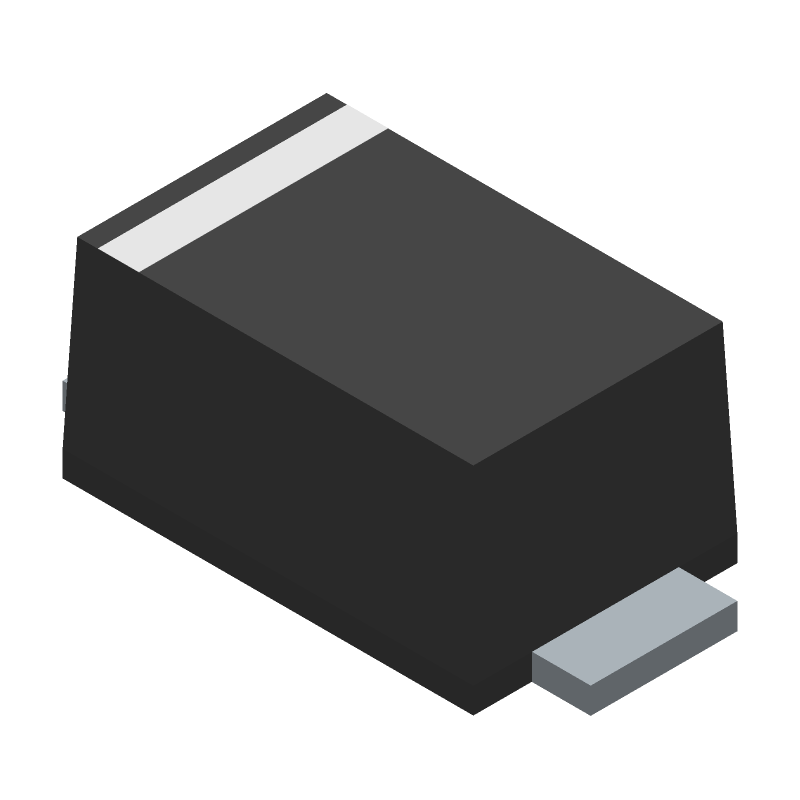 ON Semiconductor SS34FA (Small Outline Diode Flat Lead) 3D model isometric projection.