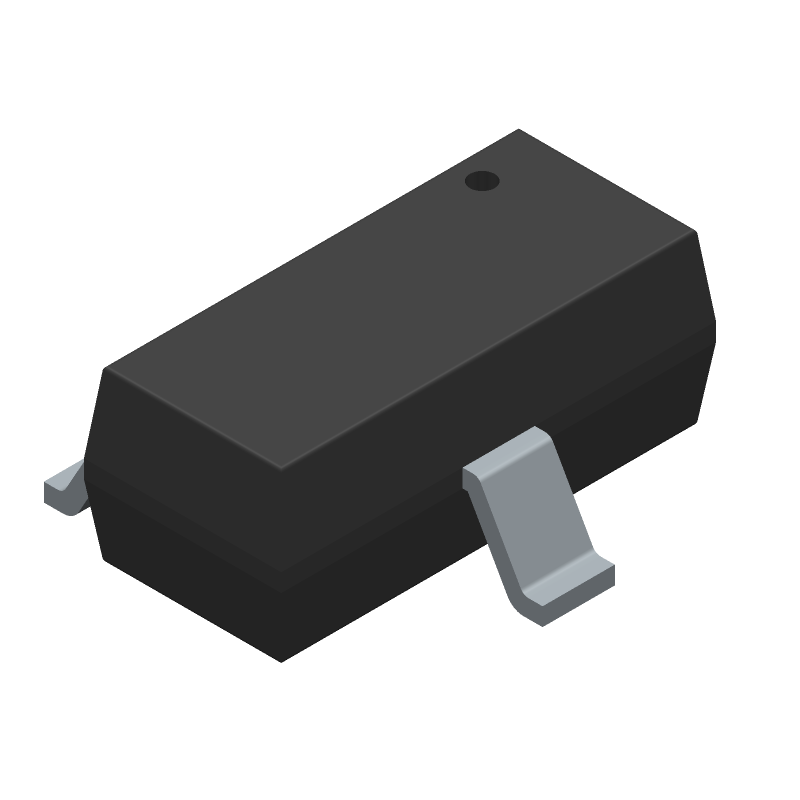 ON Semiconductor BAT54S (SOT23 (3-Pin)) 3D model isometric projection.