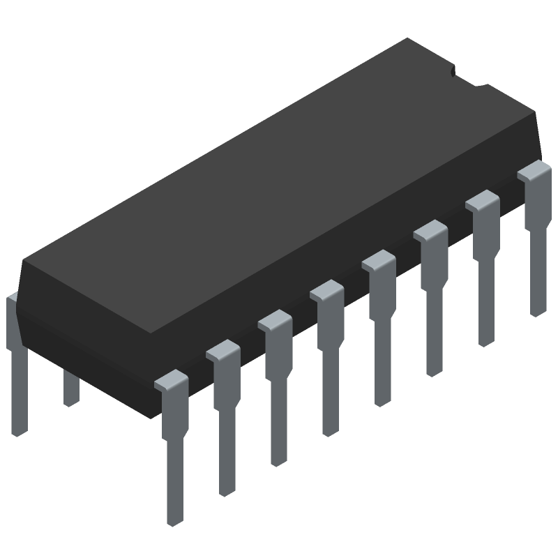 ON Semiconductor SG3525AN (Dual-In-Line Packages) 3D model isometric projection.
