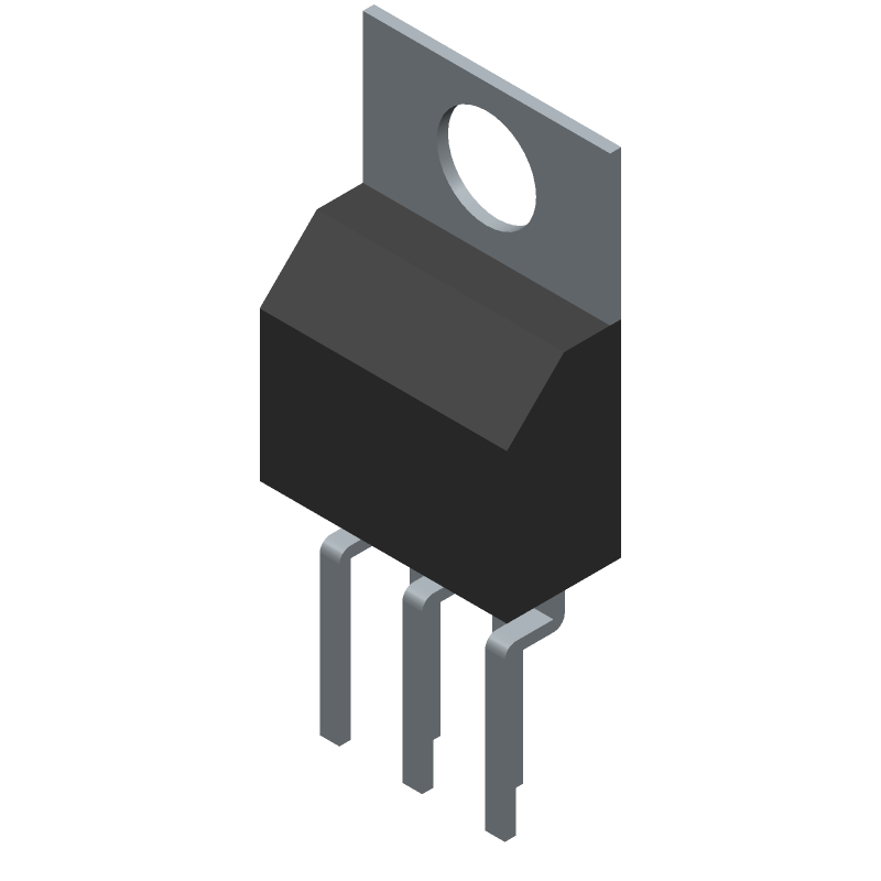 Microchip LM2576-12WT (Transistor Outline, Vertical) 3D model isometric projection.