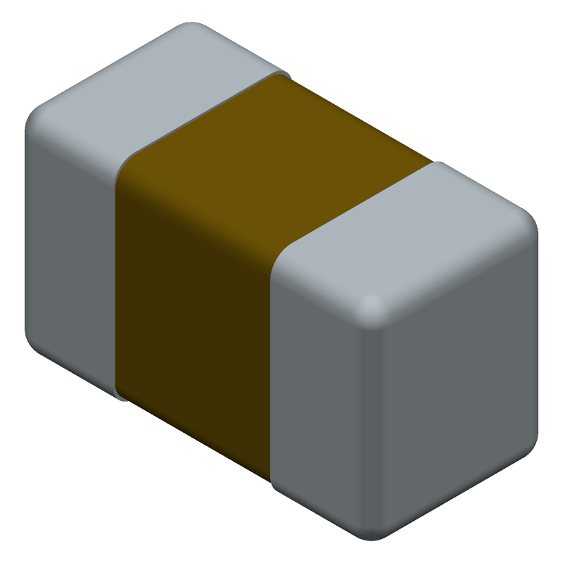 Kemet C0603X103F3GACTU (Capacitor Chip Non-polarised) 3D model isometric projection.