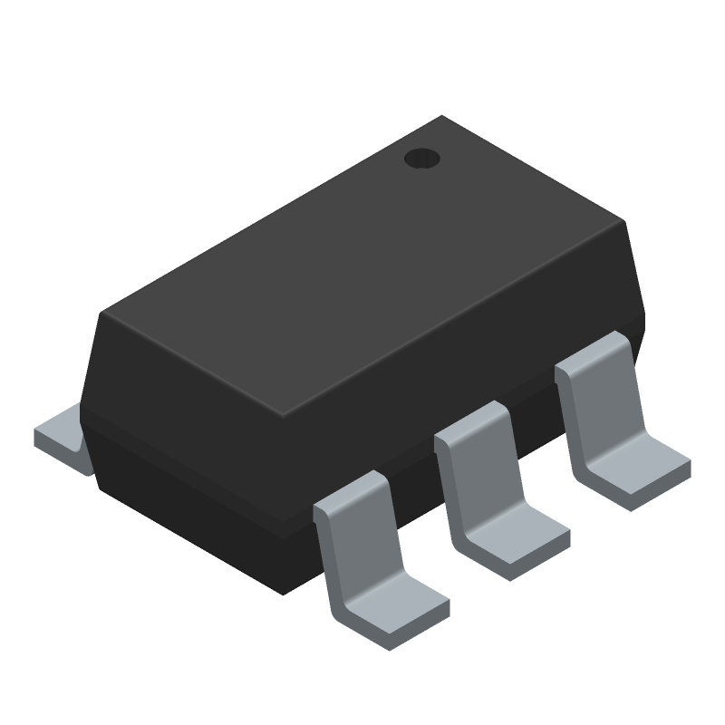 Fortune Semiconductor Corporation DW01A-G (SOT23 (6-Pin)) 3D model isometric projection.