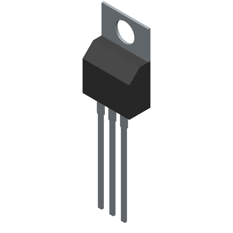 Vishay SUP53P06-20-E3 (Transistor Outline, Vertical) 3D model isometric projection.