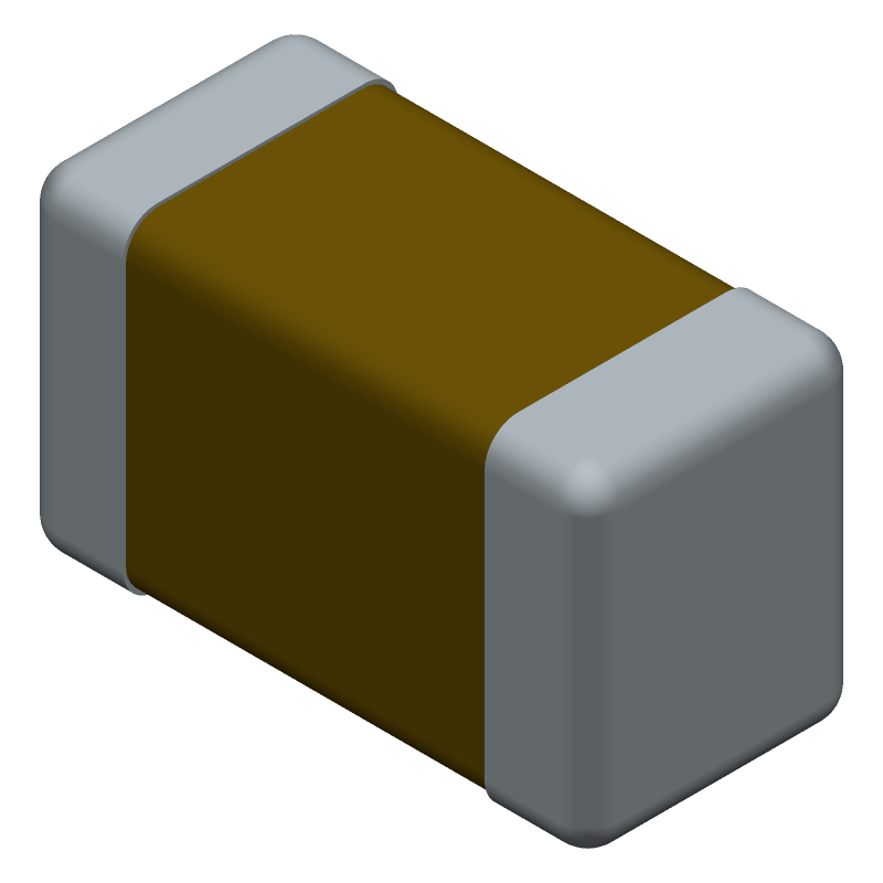 Kemet C1206X475K3RACAUTO7210 (Capacitor Chip Non-polarised) 3D model isometric projection.
