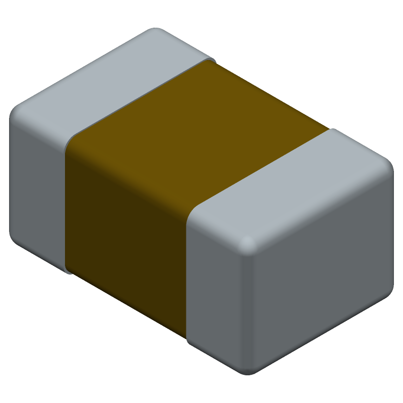 Kemet C0805X104M5RACTU (Capacitor Chip Non-polarised) 3D model isometric projection.