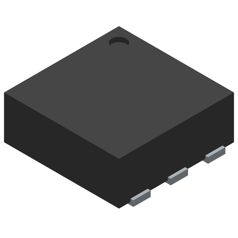 Texas Instruments TMP117AIDRVR (Small Outline No-lead) 3D model isometric projection.