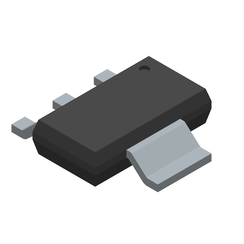 Texas Instruments LM1117IMP-3.3/NOPB (SOT223 (3-Pin)) 3D model isometric projection.
