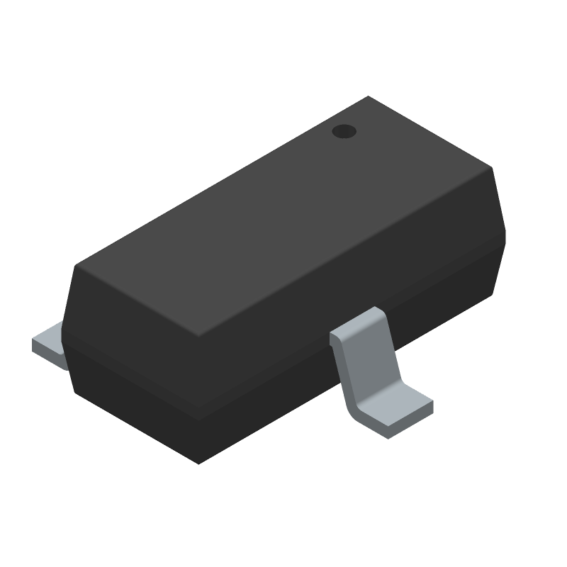 Microchip MCP1700T-3302E/TT (SOT23 (3-Pin)) 3D model isometric projection.