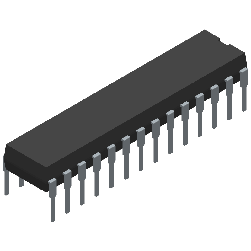 Microchip ATMEGA8A-PU (Dual-In-Line Packages) 3D model isometric projection.
