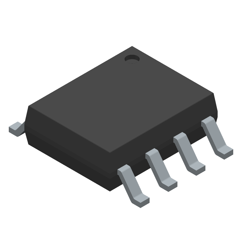 Texas Instruments LM358BIDR (Small Outline Packages) 3D model isometric projection.
