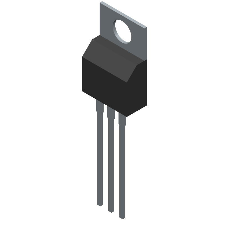 STMicroelectronics LM317T (Transistor Outline, Vertical) 3D model isometric projection.