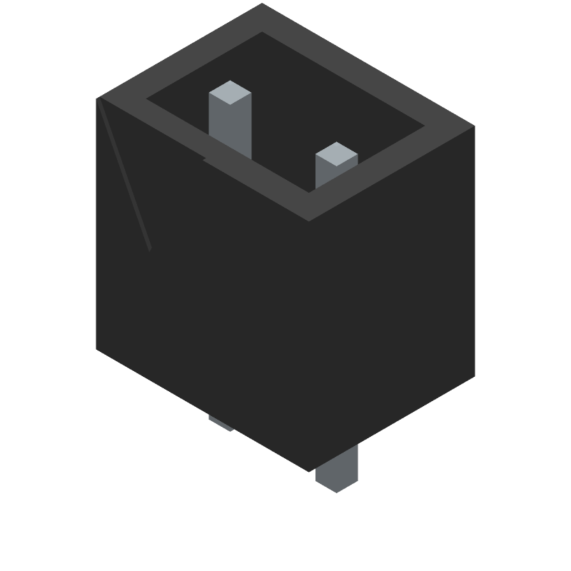 Degson DG126-5.0-02P-14-00A(H) (Header, Shrouded - Straight PTH Box) 3D model isometric projection.