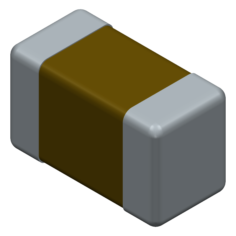 Kemet C0603C104K5RAC3121 (Capacitor Chip Non-polarised) 3D model isometric projection.