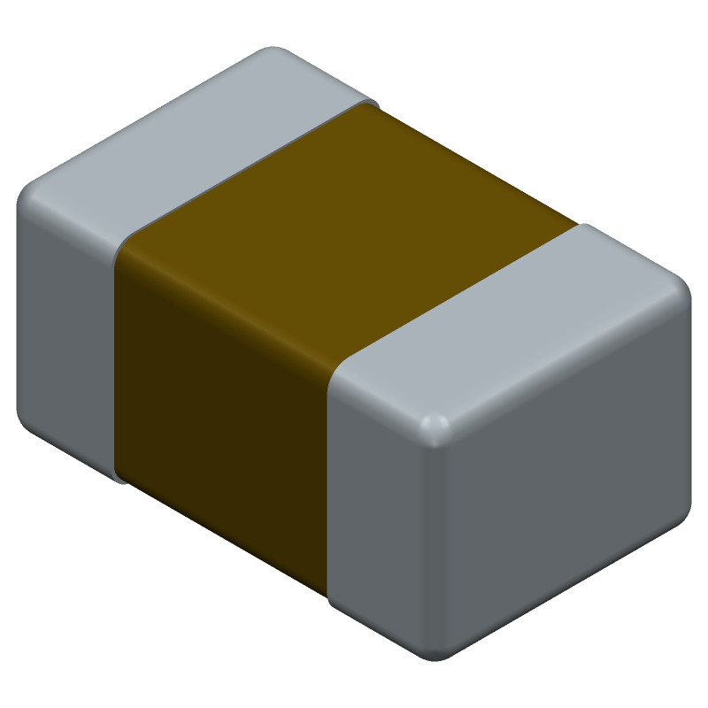 Kemet C0805C105K4RACTU (Capacitor Chip Non-polarised) 3D model isometric projection.