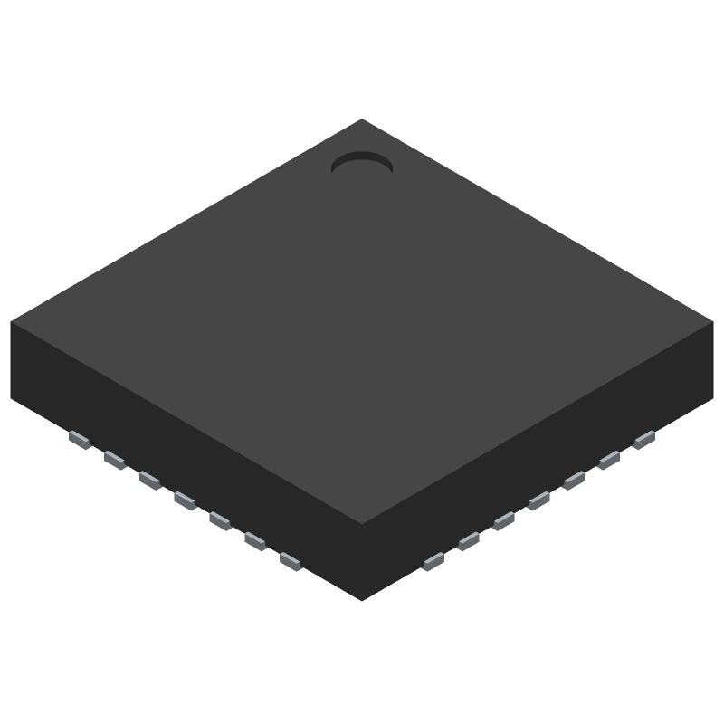 Silicon Labs CP2102-GM (Quad Flat No-Lead) 3D model isometric projection.