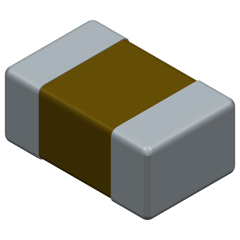 Kemet C0805C104M5RACTU (Capacitor Chip Non-polarised) 3D model isometric projection.