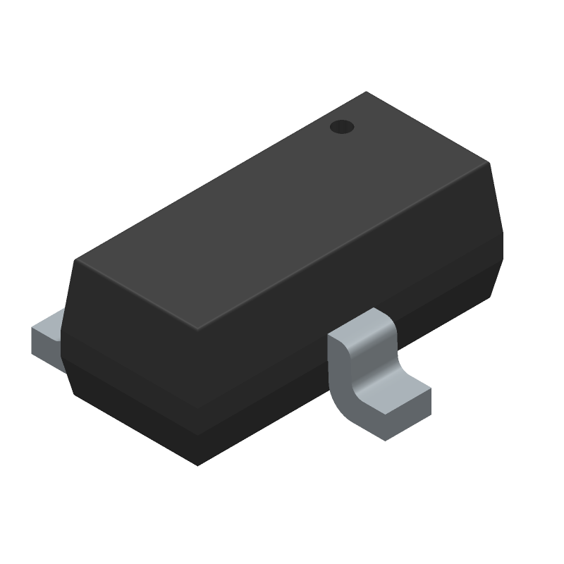 Vishay 2N7002 (SOT23 (3-Pin)) 3D model isometric projection.