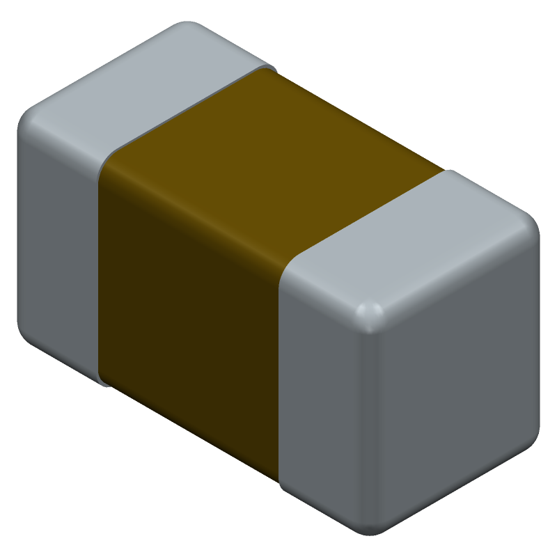 AVX 0402YC104MAT2A (Capacitor Chip Non-polarised) 3D model isometric projection.