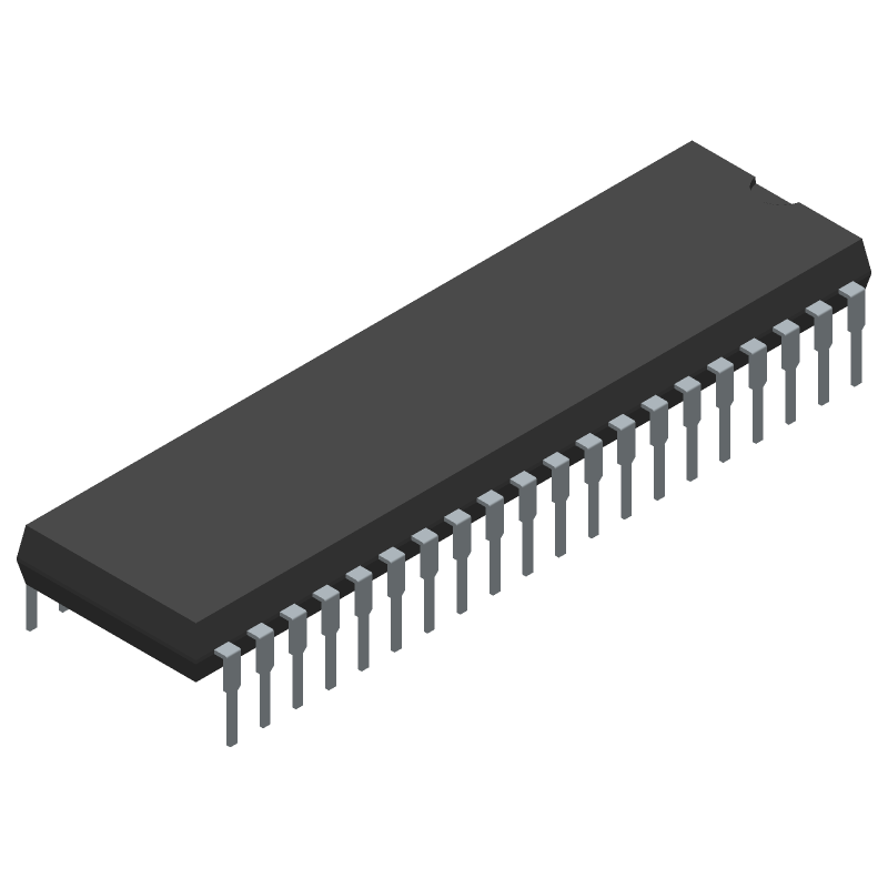 Microchip PIC16F877A-I/P (Dual-In-Line Packages) 3D model isometric projection.