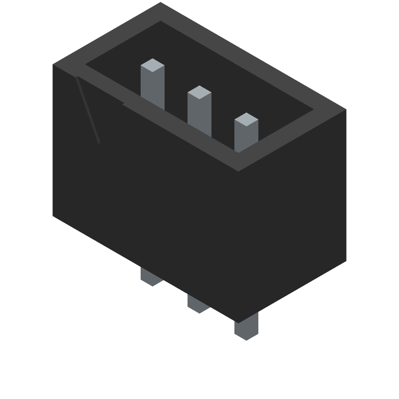 JST (JAPAN SOLDERLESS TERMINALS) B3B-XH-A(LF)(SN) (Header, Shrouded - Straight PTH Box) 3D model isometric projection.