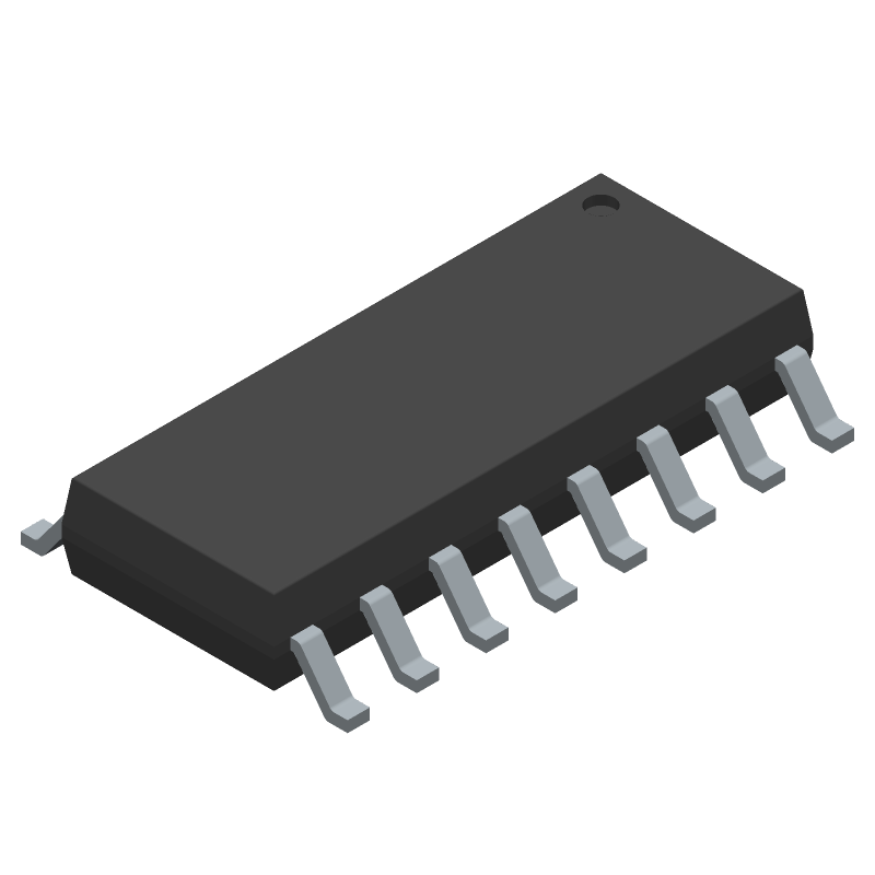 Texas Instruments SN74LS247DR (Small Outline Packages) 3D model isometric projection.