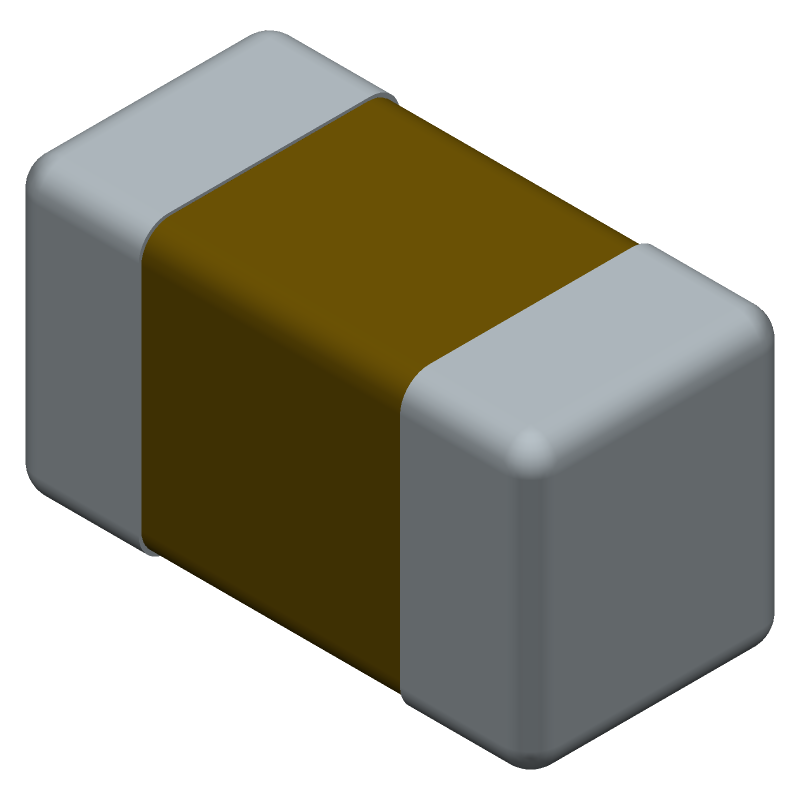 YAGEO (PHYCOMP) CC0603KRX7R9BB104 (Capacitor Chip Non-polarised) 3D model isometric projection.