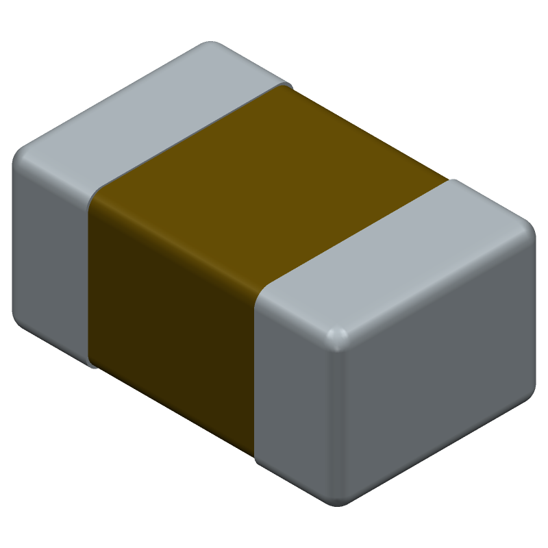 AVX 08055A130JAT2A (Capacitor Chip Non-polarised) 3D model isometric projection.