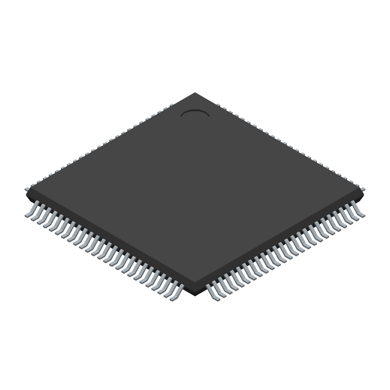 Microchip ATMEGA2560-16AUR (Quad Flat Packages) 3D model isometric projection.