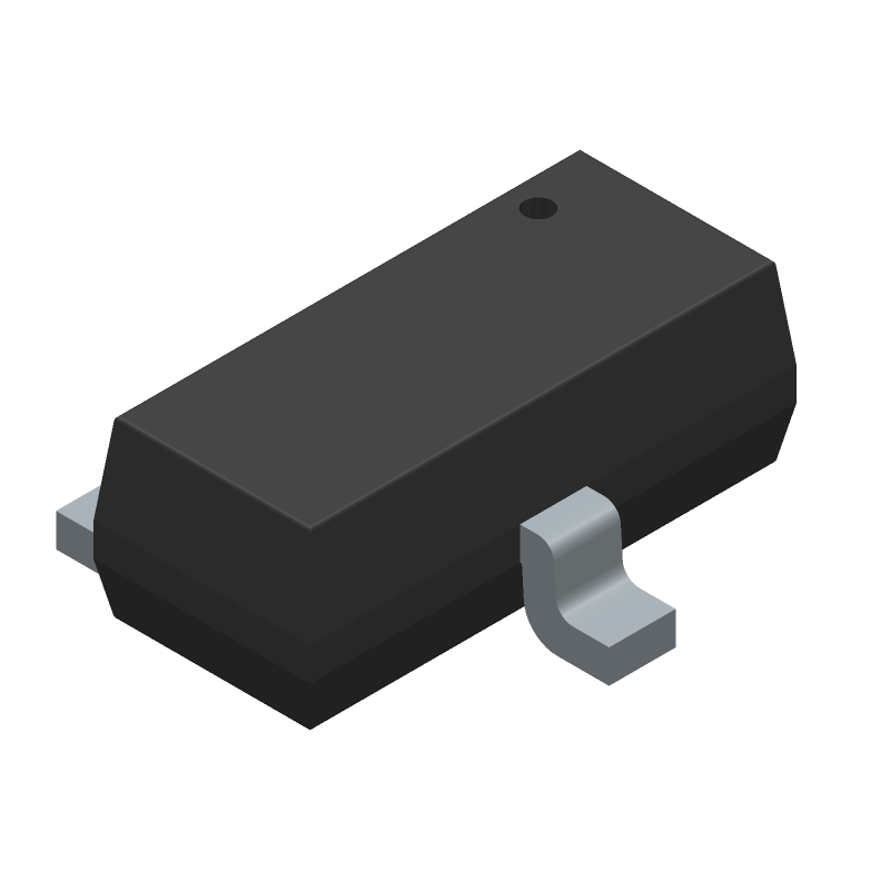 Infineon IRLML6344TRPBF (SOT23 (3-Pin)) 3D model isometric projection.