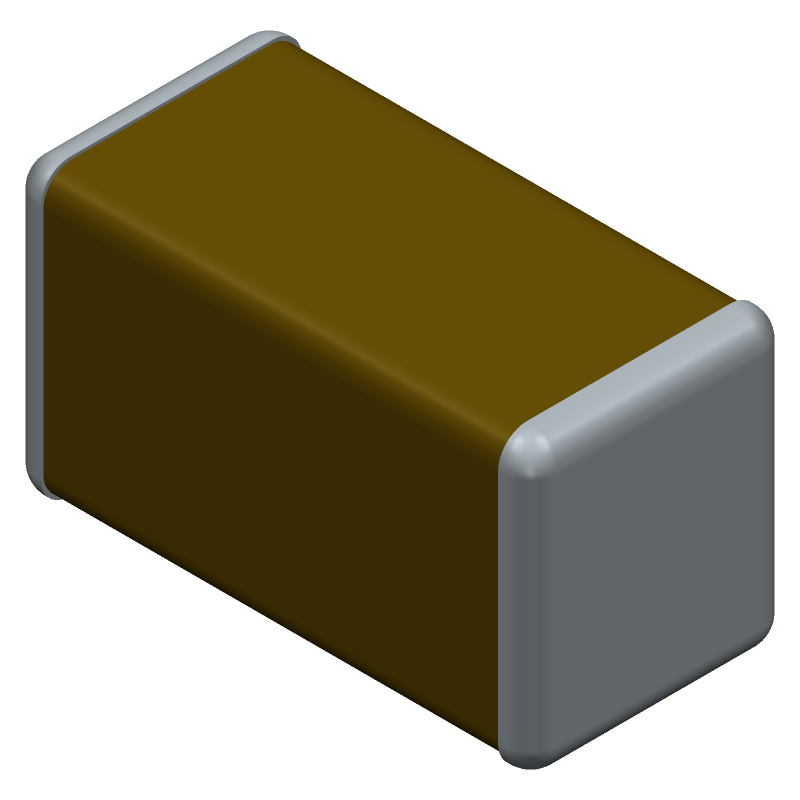 TDK C3216C0G1H104J160AE (Capacitor Chip Non-polarised) 3D model isometric projection.