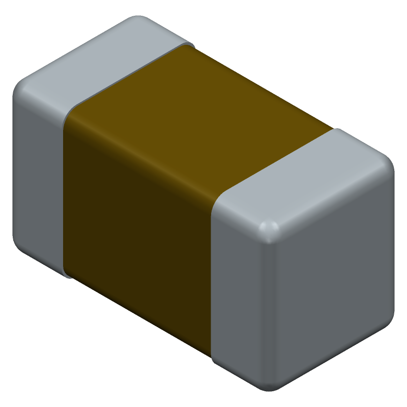 AVX 06035G104ZAT2A (Capacitor Chip Non-polarised) 3D model isometric projection.