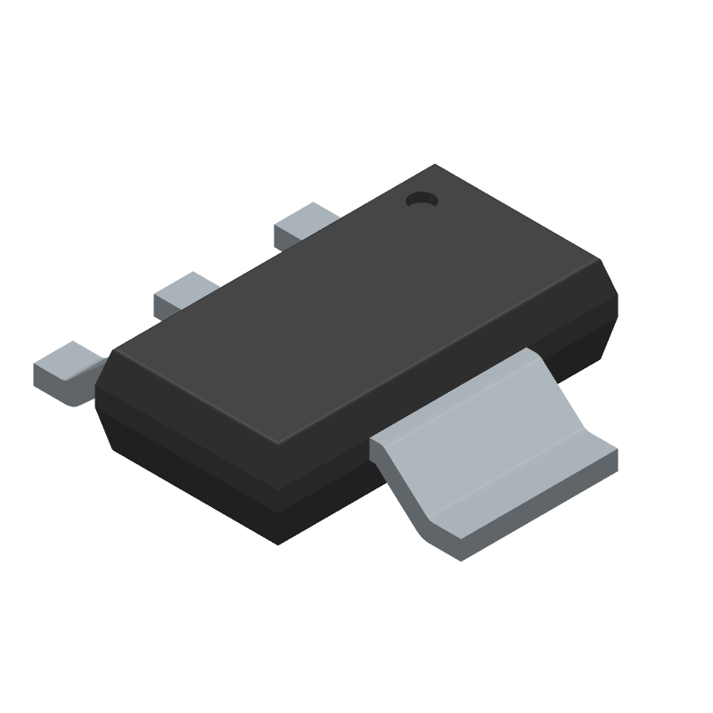 Texas Instruments LM7805MPX/NOPB (SOT223 (3-Pin)) 3D model isometric projection.