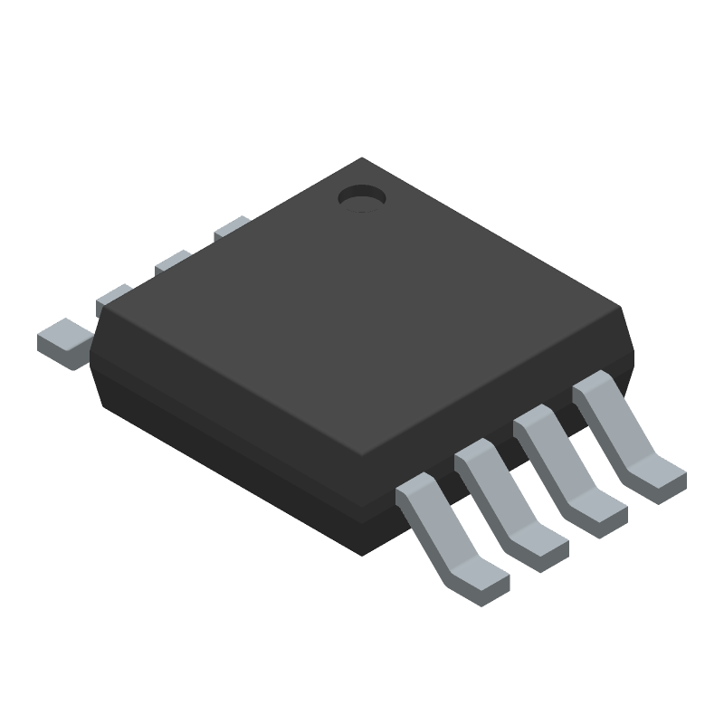 Texas Instruments LM555CMMX/NOPB (Small Outline Packages) 3D model isometric projection.