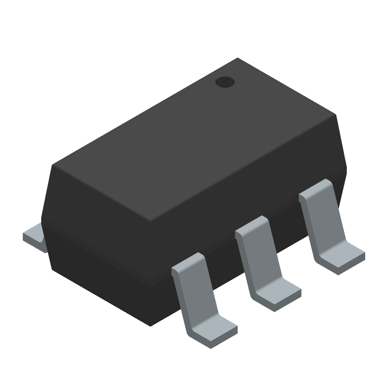 STMicroelectronics USBLC6-4SC6 (SOT23 (6-Pin)) 3D model isometric projection.
