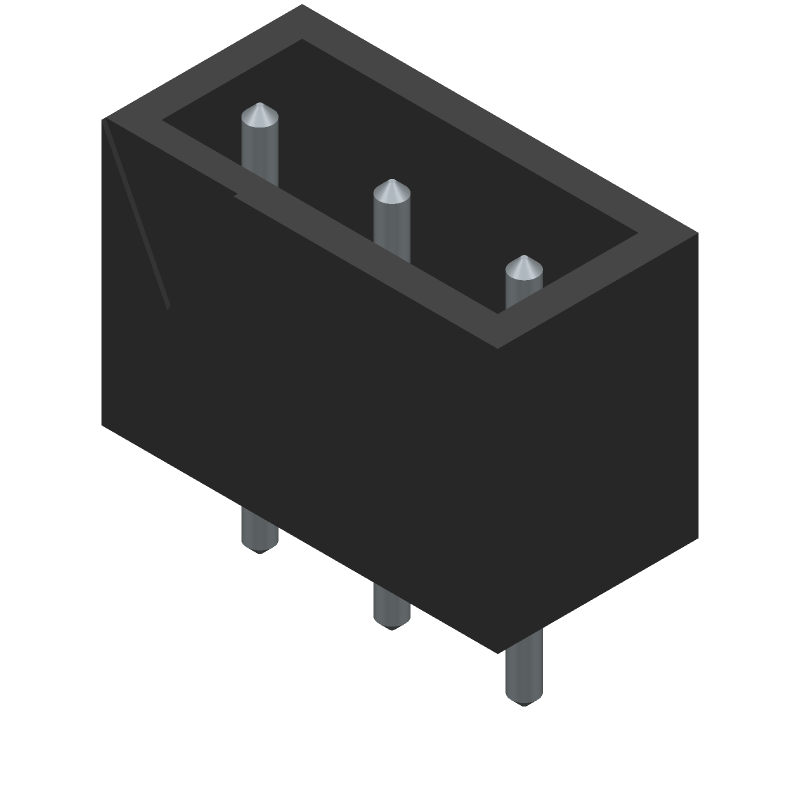 CUI Inc. TB002-500-03BE (Header, Shrouded - Straight PTH Box) 3D model isometric projection.