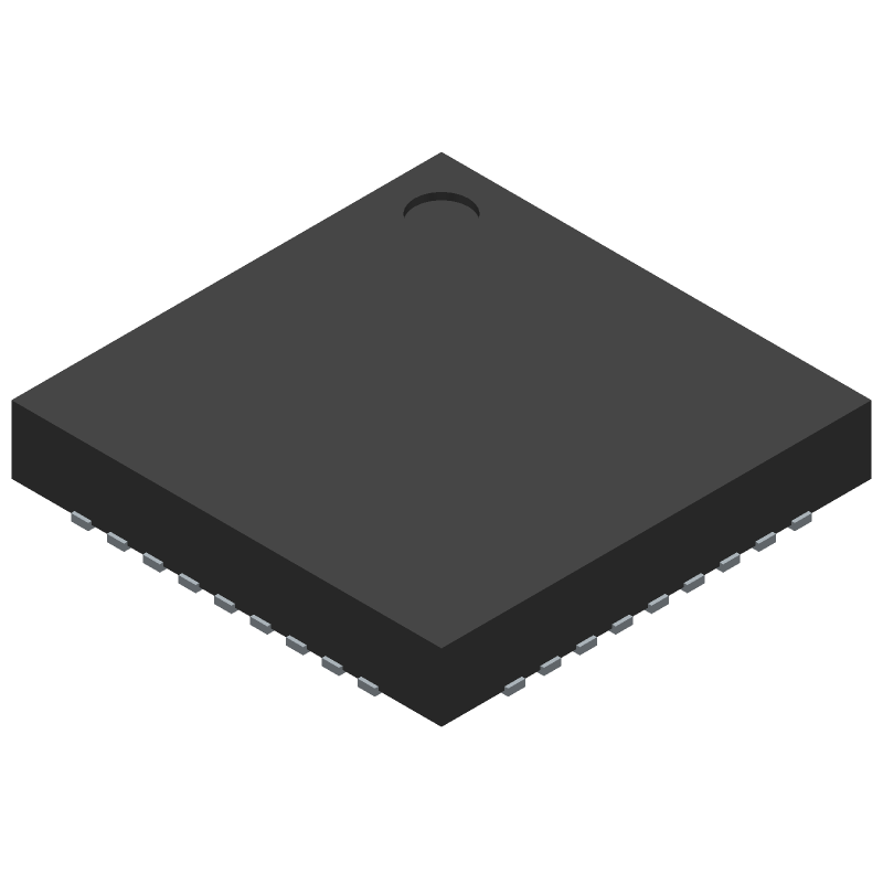 Microchip USB2514B-I/M2 (Quad Flat No-Lead) 3D model isometric projection.