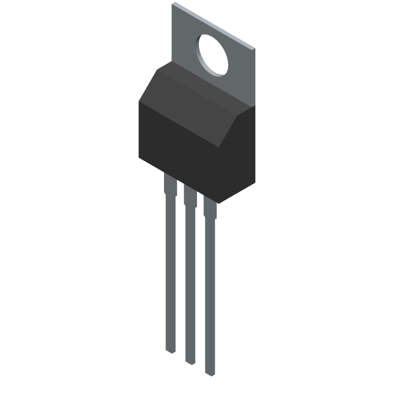 Texas Instruments LM7805CT (Transistor Outline, Vertical) 3D model isometric projection.