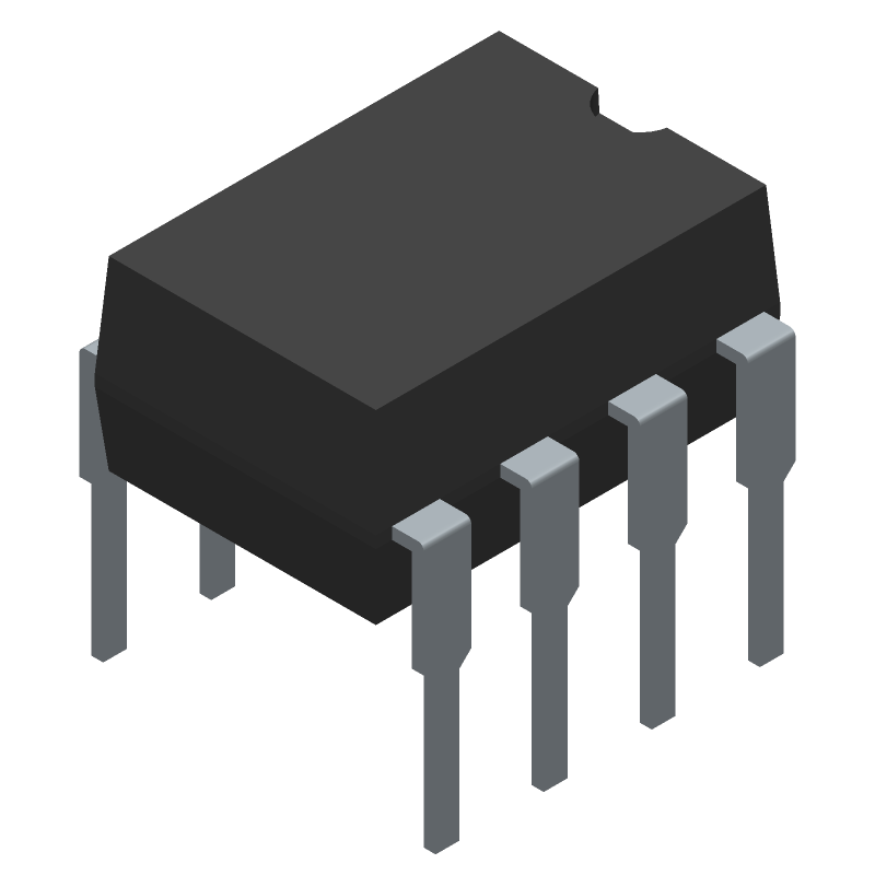 Microchip ATTINY85-20PU (Dual-In-Line Packages) 3D model isometric projection.
