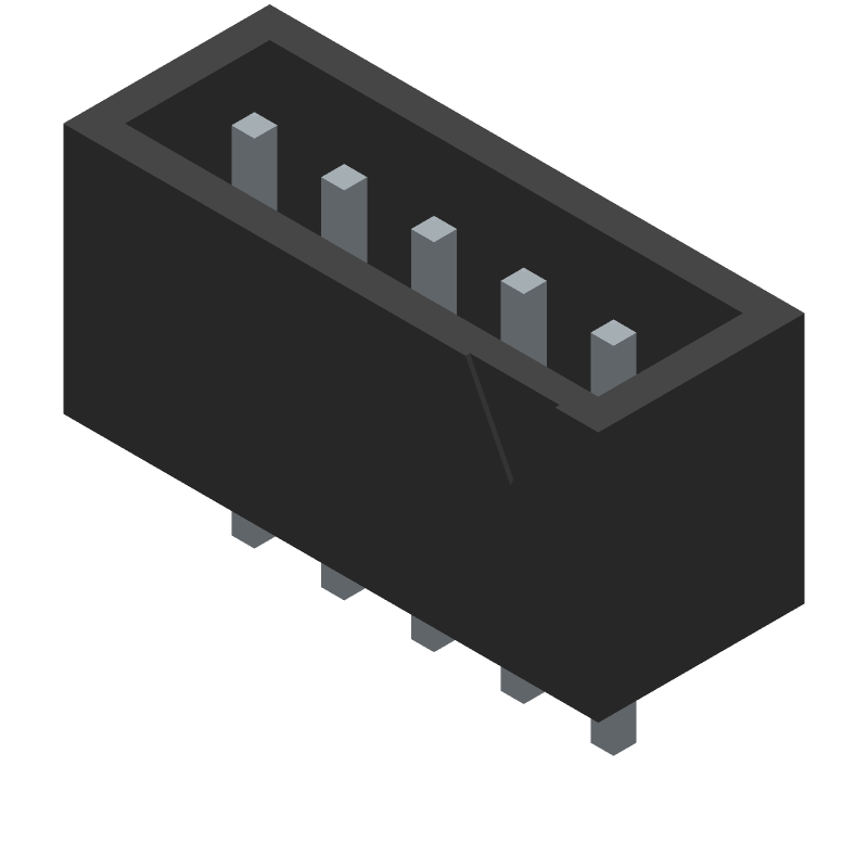 JST (JAPAN SOLDERLESS TERMINALS) B5B-XH-A(LF)(SN) (Header, Shrouded - Straight PTH Box) 3D model isometric projection.