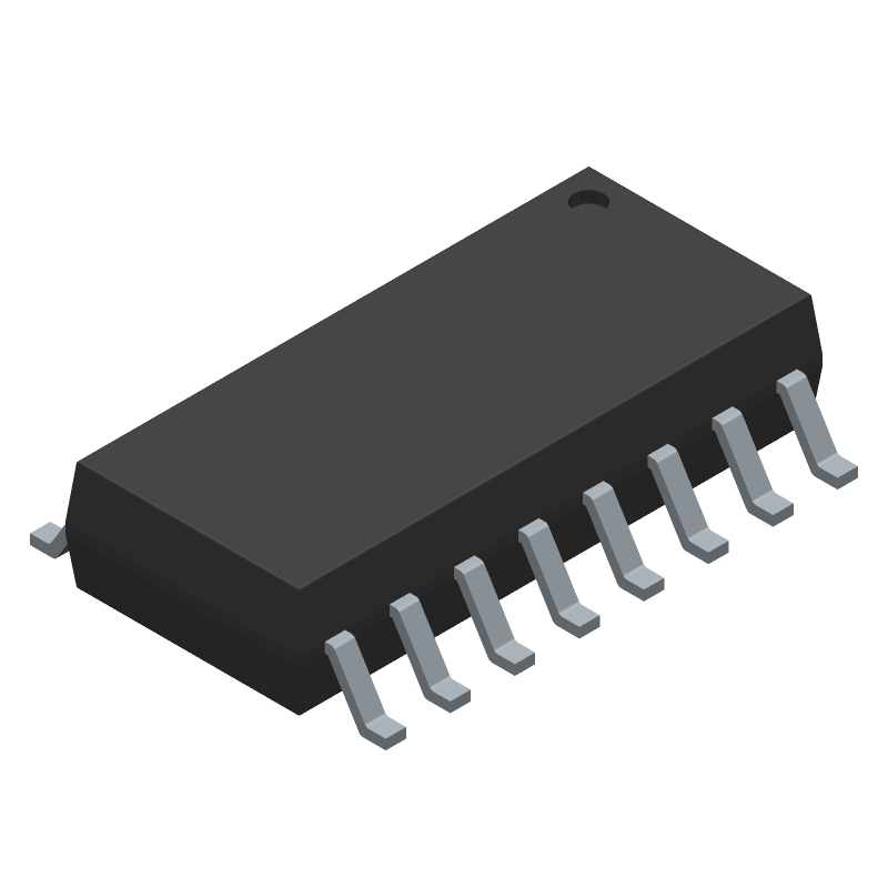 Toshiba TLP291-4(GB-TP,E) (Small Outline Packages) 3D model isometric projection.