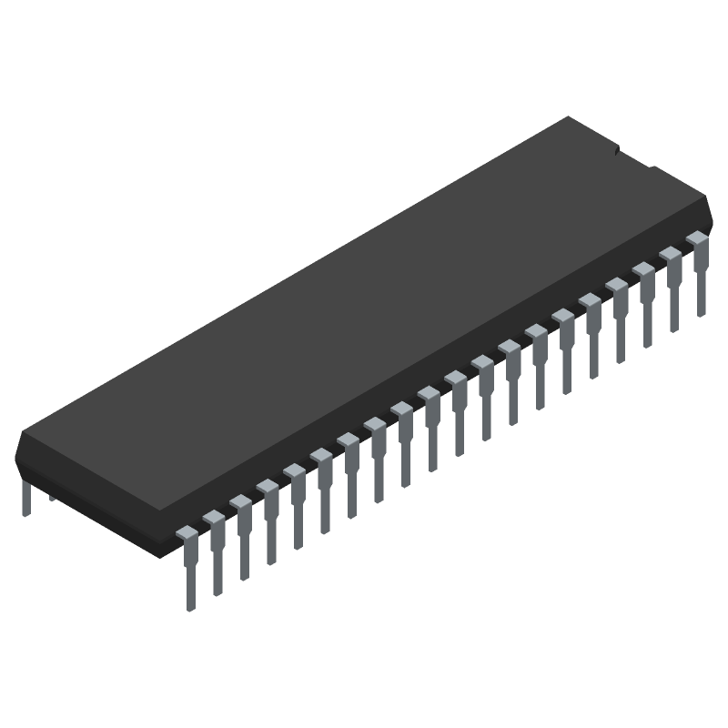 Microchip AT89S52-24PU (Dual-In-Line Packages) 3D model isometric projection.