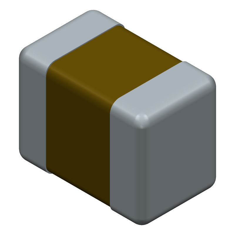 AVX 08055C225KAT2A (Capacitor Chip Non-polarised) 3D model isometric projection.