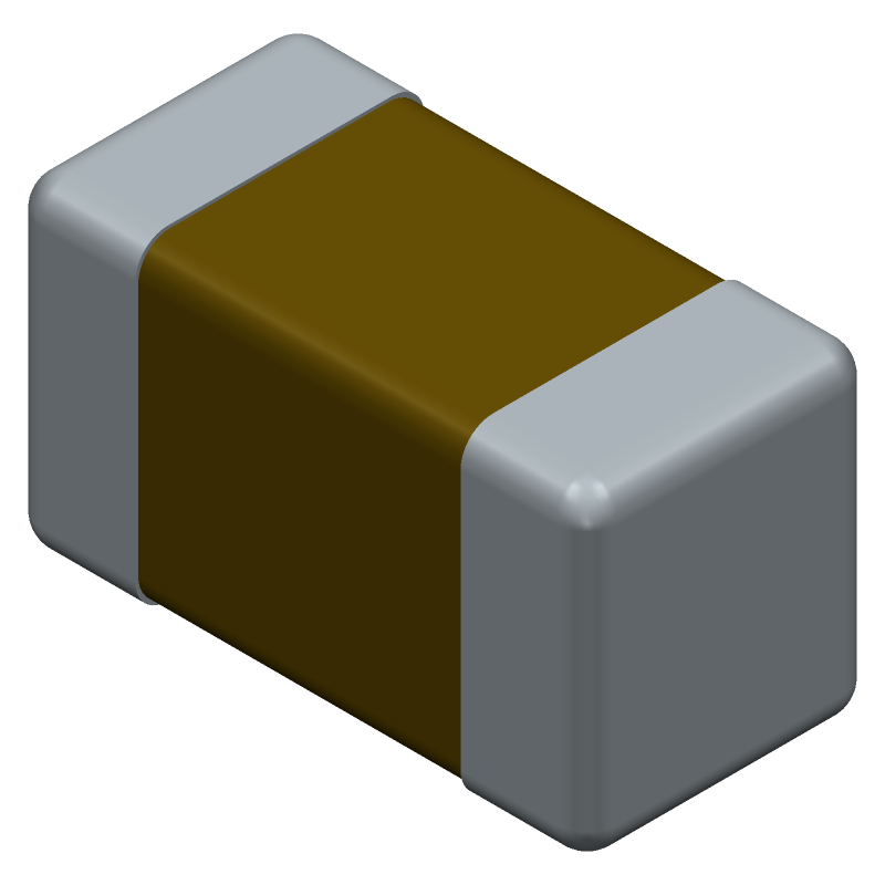 Murata Electronics GRM188R61E106KA73D (Capacitor Chip Non-polarised) 3D model isometric projection.