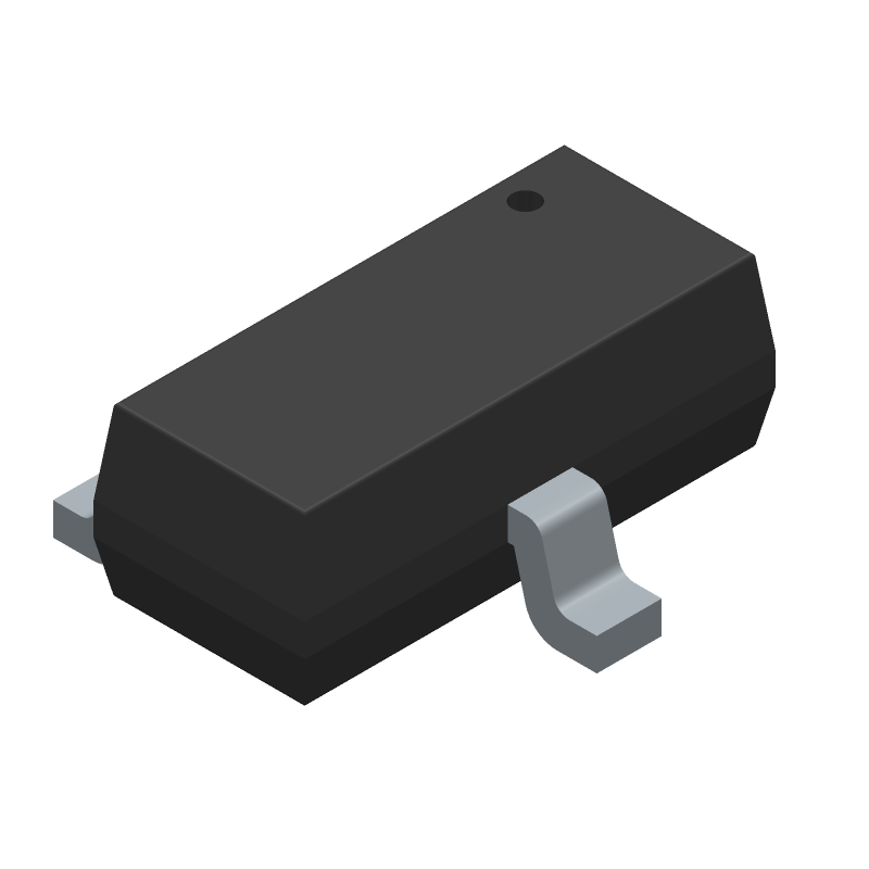 Comchip Technology MMBT2222A-G (SOT23 (3-Pin)) 3D model isometric projection.
