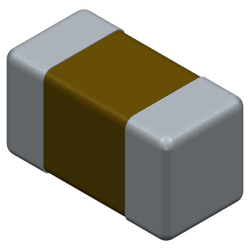 AVX 02013A120GAT2A (Capacitor Chip Non-polarised) 3D model isometric projection.