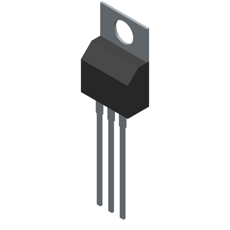 Texas Instruments LM7812CT (Transistor Outline, Vertical) 3D model isometric projection.