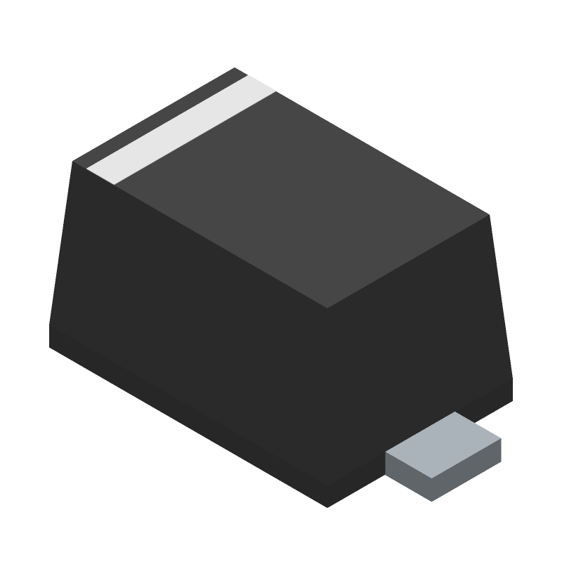 ON Semiconductor 1N4148WT (Small Outline Diode Flat Lead) 3D model isometric projection.