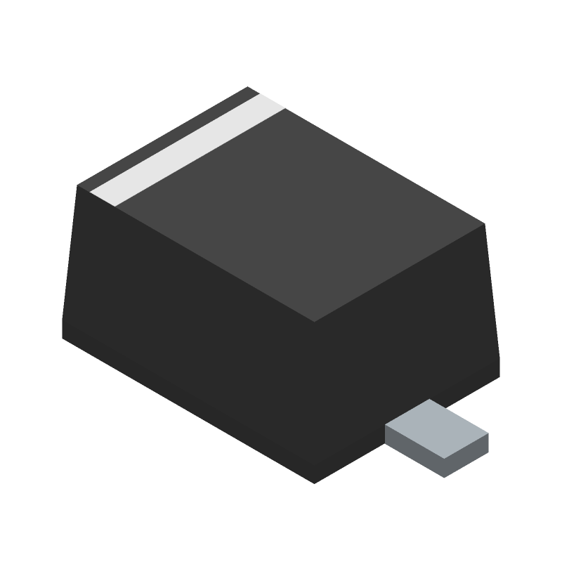 ON Semiconductor 1N4148WS (Small Outline Diode Flat Lead) 3D model isometric projection.