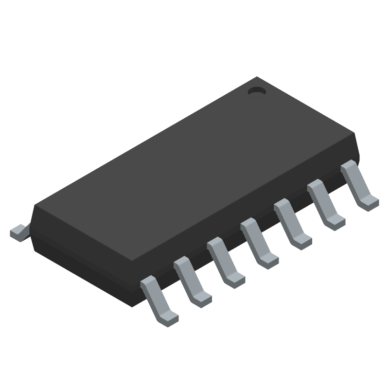 Texas Instruments TL074ACDR (Small Outline Packages) 3D model isometric projection.