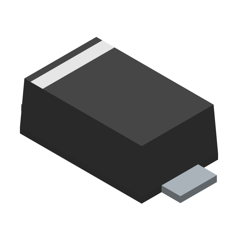 ON Semiconductor SS24FL (Small Outline Diode Flat Lead) 3D model isometric projection.